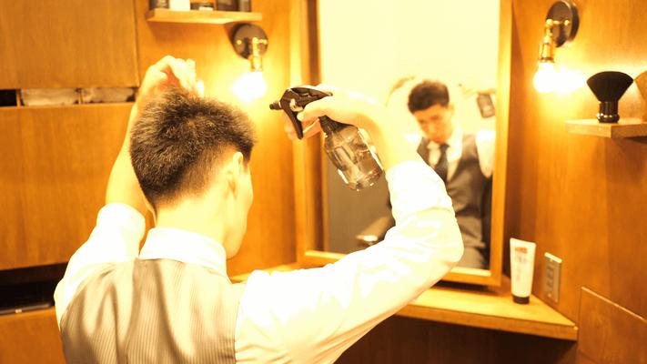 髪を濡らしているイメ―ジ