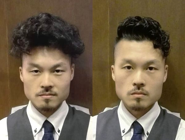 くせ毛の男性